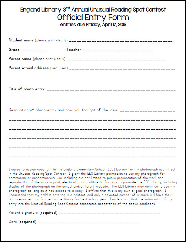 Contest Form It Is Mandatory To Submitsend The Duly Filled Entry